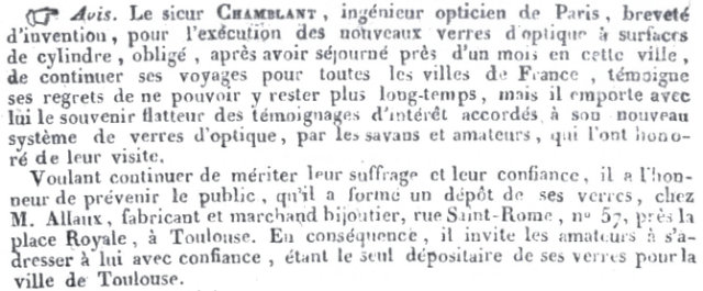 Le journal de Toulouse, 1821, avis